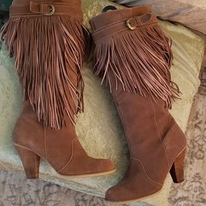 Naughty Monkey Spy Brown Suede Fringe Boots HOTT!!